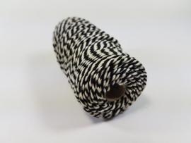 CE890030/3222- 43 mtr katoen macramé touw spoel 2mm 100grs - zwart/wit