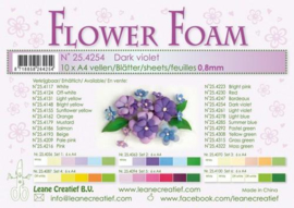 CE800205/4254- 10 sheets flower foam sheets A4 - donkerpaars