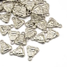 NA.09- 8 stuks licht metalen bedels buddha 20x16mm zilverkleur