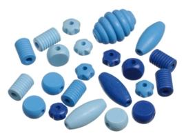 6033 434- 22 stuks houten kralen mix blauw/lichtblauw