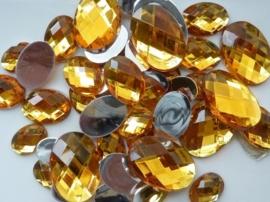 2282 0314- 43 x kunststof strass stenen assortiment ovaal van 15 tot 27mm goud geel