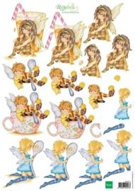 kn/1917- A4 3D knipvel Marianne design Ragdolls kitchen fairies  -  117148/4201