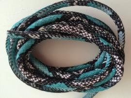 PU.04- 3 meter imitatieleren koord slangenprint turquoise 6mm