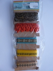 5706- Harmony collection ribbons 5 stuks van elk 91cm OPRUIMING