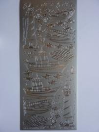 st786- stickervel vuurtoren en schelpen zilver