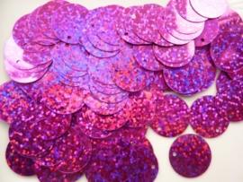 10gram grote pailletten van 19mm glitter fuchsia (grote hoeveelheid!)