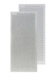 st748-B -stickervel Leane met kleine ruitjes 10x20cm parelmoer zilver  -  121001/2426