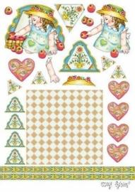 kn/1564- A4 knipvel Marij Rahder meisje met appels - 117140/2738
