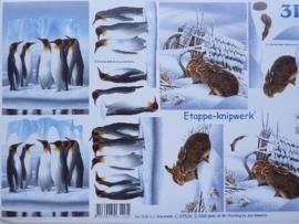 kn/711- A4 3D knipvel Le Suh pinguins / hazen