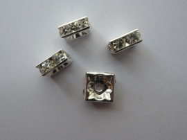 CH.74.NF- 4 stuks A-kwaliteit strassringen/spacers 8x8mm crystal - EXTRA LAGE PRIJS!