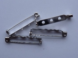 32mm - 4 stuks broche speldjes staalkleur met veiligheids sluiting