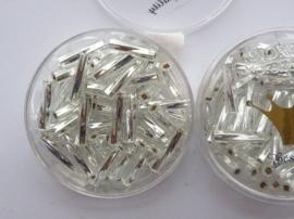 1697- 12mm best quality glazen getorste stiftjes zilver 10gr in luxe doosje