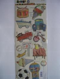5119- diverse afbeeldingen met embossing stickers 30x13cm K&CO