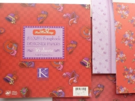 05970- 36 vel designer papers red hat society K&Co 21.5x21.5cm OPRUIMING