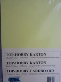 01- 20 vellen kaartkarton A5 formaat voor dubbele kaarten ca.225grams licht geel