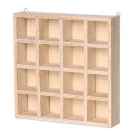KN8735 726- 3 stuks houten letterbakken 22x22x4.5cm