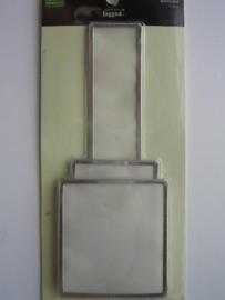 5524- 6 x Making M tags rectangles van vellum met zilveren rand