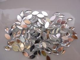 ca. 125 stuks kunststof strass steentjes spits ovaal 5x10mm zilver