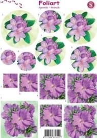 658- pyramide knipvel Foliart bloemen donker roze A4 -117149/0678