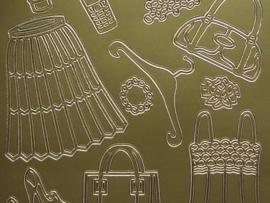 st715- sticker kledingstukken goud 10x20cm
