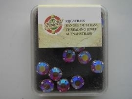 107007/0054- 12 stuks glazen rijg/naai strass steentjes 7mm rond kristal ruby AB