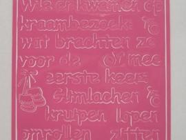 186- diverse teksten roze 10x20cm