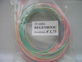 260 - scoubidou touwtjes 10 stuks regenboog/pastel