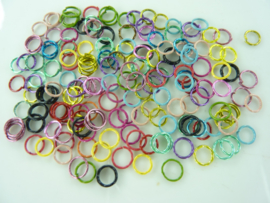 CH.005- 10gram metalen ringetjes van 6mm kleurenmix