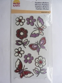 005309-B- fashion stickers metallook vlinders 10x18cm OPRUIMING