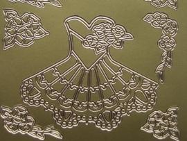 st342- jurkje met bloemen goud 10x20cm