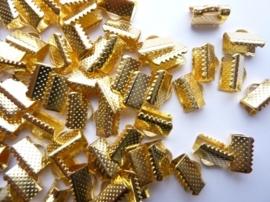 CH.143.50- 50 x lintklemmen van 10mm breed goudkleur - SUPERLAGE PRIJS!