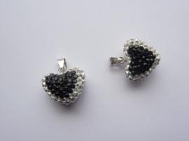 3994.B- Swarovski Elements luxe hanger hart zilver/zwart 14x20x8mm AA-kwaliteit!