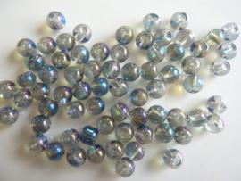 3276 - Ca. 60 stuks glaskralen olie transparant hoogglans van 6 mm.