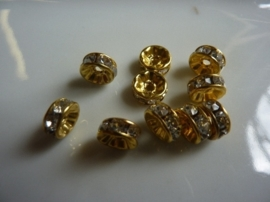CH.014.10- 10 stuks A-grade strassringetjes van 7.5mm goudkleur - SUPERLAGE PRIJS!