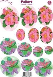 664- pyramide knipvel Foliart bloemen licht roze A4 -117149/0684