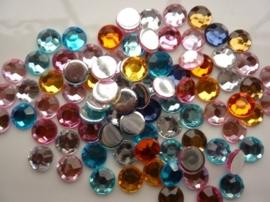 ca. 85 stuks strass stenen mix van 10mm kunststof diverse kleuren - SUPERLAGE PRIJS!