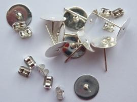 CH.901.10- 10 stuks platte oorstekers met schuifjes 10mm - SUPERLAGE PRIJS!
