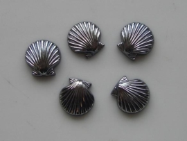 5149- 5 x glas schelp 11x11mm metallic grijs