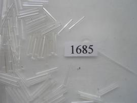 1685- 14mm glazen stiftjes transparant/kleurloos 15 gr