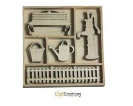 CE811500/0172- 25 stuks houten ornamentjes in een doosje summer 10.5x10.5cm