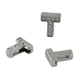 letter T - leerschuiver met strass steentjes zilver 13mm