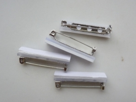 32mm - 4 stuks zelfklevende broche speldjes staalkleur
