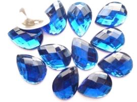 12 stuks kunststof strass stenen druppelvorm donkerblauw 25x18mm - SUPERLAGE PRIJS!