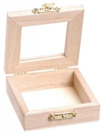 KN8735 708- 12 stuks houten kistjes met acryl deksel en sluiting 7x7x2.5cm