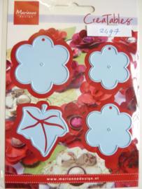 0002497- Marianne Design Creatables stencil nr.196 bloem labels (de grootste is 4.5cm) OPRUIMING