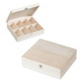 KN8735 424- 3 stuks houten vakkendozen 27.5x23.5x7.5cm
