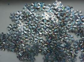 118372/436- 10gram (ca. 160 stuks) pailletten bloemetjes 15mm glitter zilver