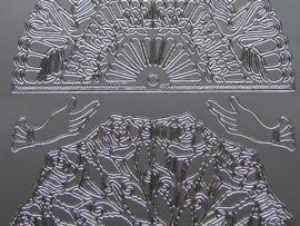 249- ornament waaier zilver 10x20cm