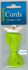 CE442000/8407- 5 meter knoopkoord / shamballa koord van 0.8mm dik neon groen