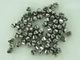 1954- 75 tot 80 stuks electroplated glaskralen bicone van 4mm antraciet